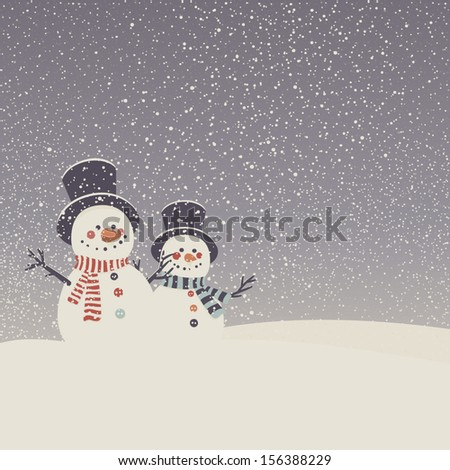 Vector card with snowmen and snowfall. Merry Christmas greeting card. - stock vector