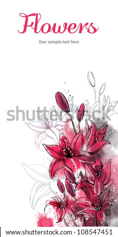 Vector card with stylized flowers. Lily - stock vector