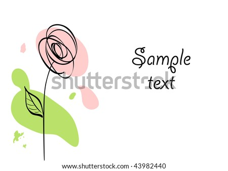 Vector card with stylized ink rose and paint stains - stock vector