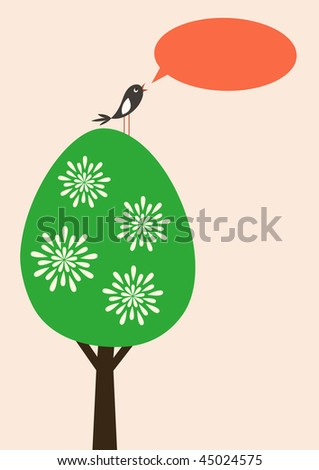 Vector card with tree, singing bird and text bubble, evening - stock vector