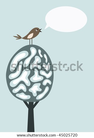 Vector card with tree, singing bird and text bubble, winter - stock vector