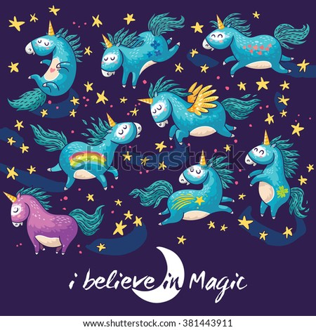 Vector card with unicorn, rainbow, stars, decor elements and text. I believe in Magic. This illustration can be used as a greeting card, poster or print