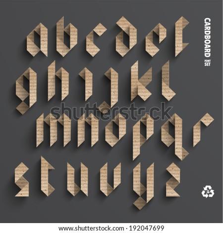 Vector Cardboard Alphabet Set - stock vector