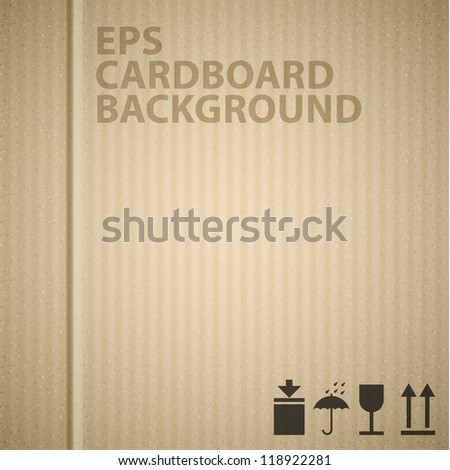 Vector cardboard background texture with pictograms - stock vector