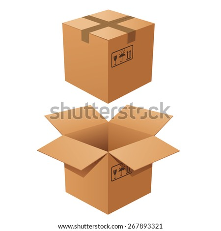 Vector cardboard boxes isolated - stock vector