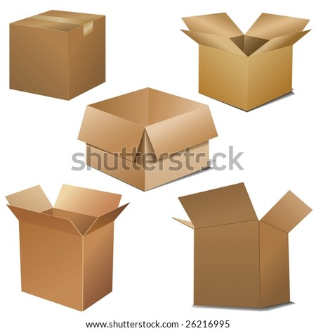 vector cardboard boxes. Opened and closed - stock vector