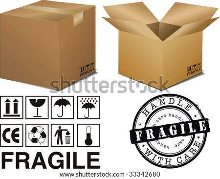 vector cardboard boxes with signs - stock vector