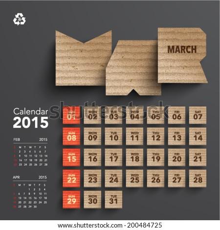 Vector 2015 Cardboard Calendar Design - March - stock vector