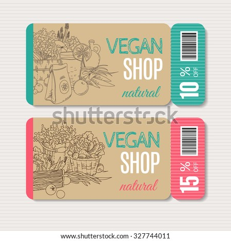 Vector cardboard coupon set. Modern hand drawn design for sale and discount of vegetarian shop, web, site, advertising, sticker and print. Concept for natural organic products shop, flyer design. - stock vector