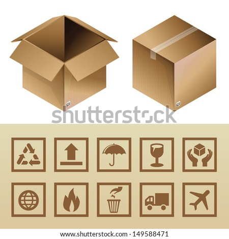 Vector cardboard delivery box and package icons - set of logistics signs and symbols - stock vector