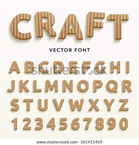Vector cardboard letters. Realistic paper style font. Typeface made of old brown boxes. Latin alphabet and numbers from A to Z and from 1 to 0. - stock vector