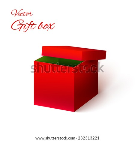 Vector cardboard realistic bright red gift box with shadow