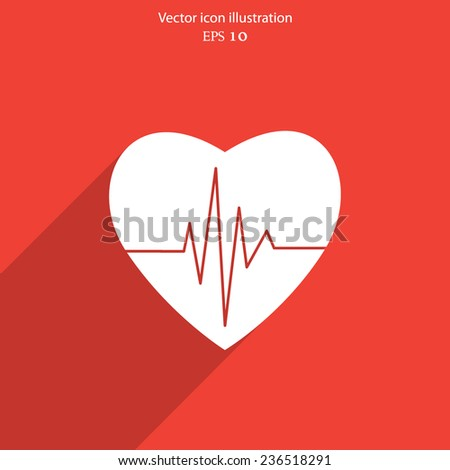 Vector cardiogram or heart rhythm medical icon. Eps 10. - stock vector