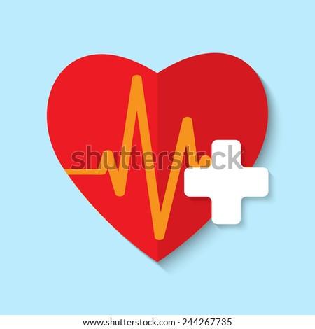 Vector cardiogram or heart rhythm medical icon. Eps 10. - stock vector