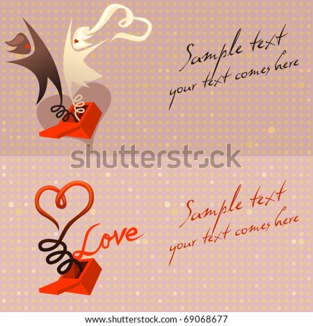 vector cards - love message popping out of a box - stock vector