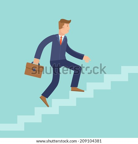 Vector career concept in flat style - cartoon man climbing the staircase to success and progress - stock vector
