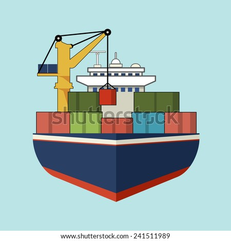 Vector Cargo Ship with Containers  Flat Line Icon - stock vector