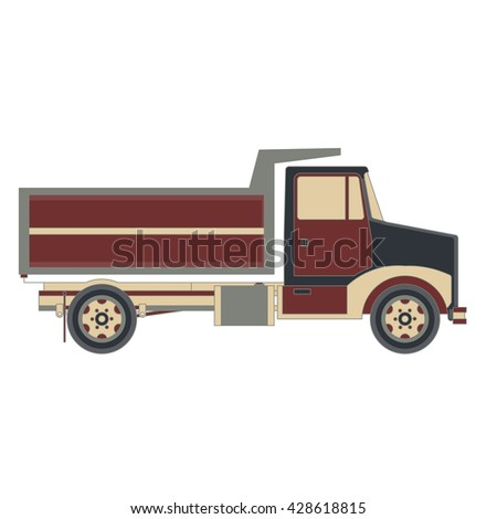 Vector cargo trucks with trailers. Fast service delivery of goods. Vehicle long-term transportation . Lorry product shipping transport.  Auto cartoon style isolated on white background.