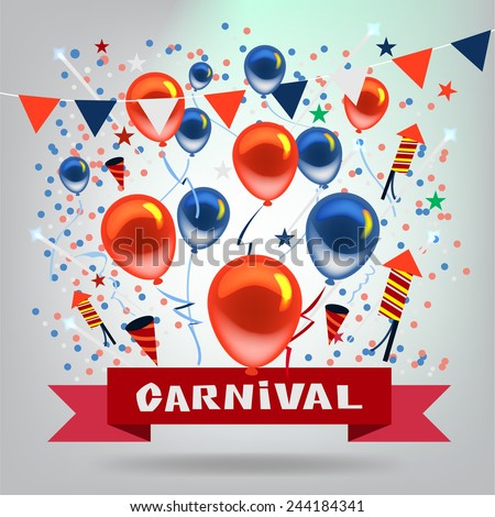 Vector Carnival and Objects in Celebration Festive Background.