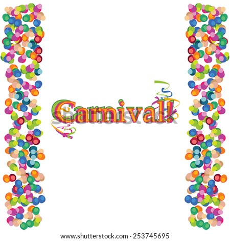 Vector carnival colorful celebration background with round confetti and frame for design. - stock vector