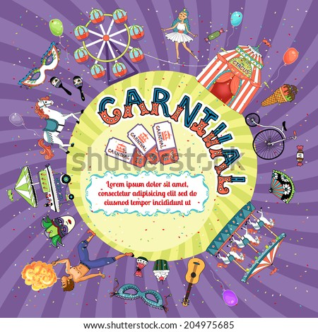 Vector carnival invitation design depicting a Big Top  fire eater  carousel  ferris wheel  funfair  masks  dancer  guitar and rattles with central copyspace with entrance tickets and radiating rays - stock vector