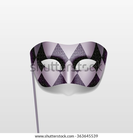 Vector Carnival Masquerade Party Mask on a Stick Isolated on White Background - stock vector