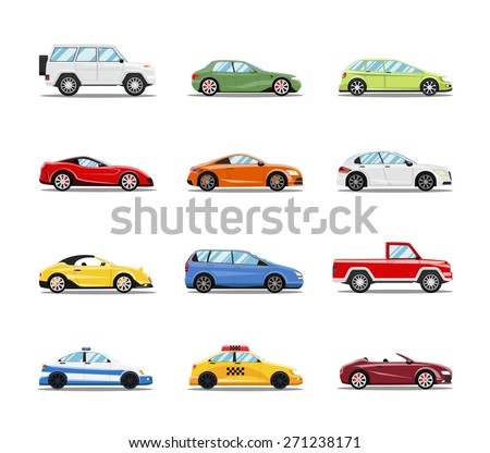 Vector Cars Collection. Vehicles in flat style on white background - stock vector