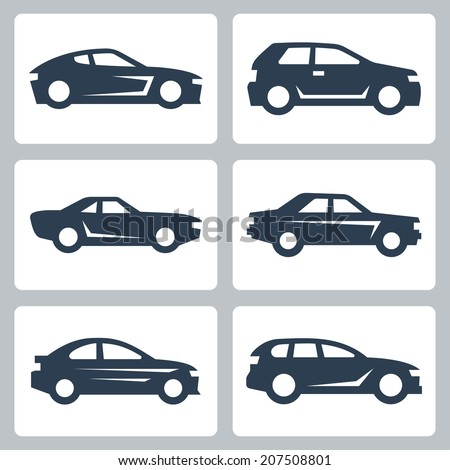 Vector cars icons set, side view - stock vector