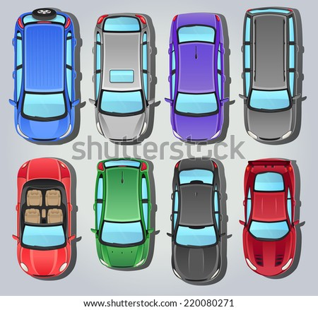 Vector Cars - Top view - stock vector