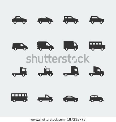 Vector cars / vehicles mini icons set - stock vector
