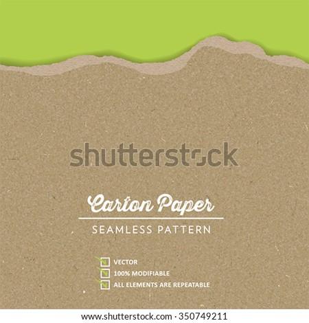 Vector Carton Paper Texture with a continuous torn edge - stock vector