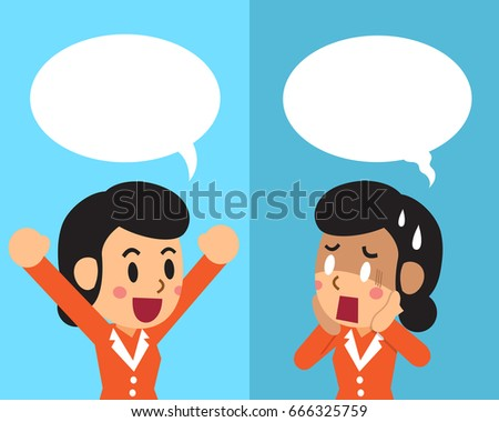 Vector cartoon a businesswoman expressing different emotions with speech bubbles