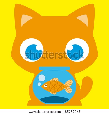 Vector Cartoon Adorable Cat With A Fish In A Fishbowl - stock vector