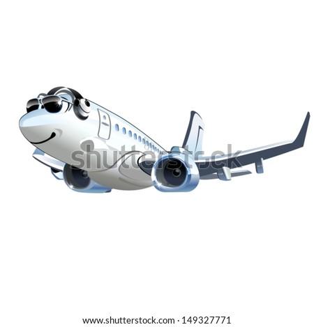 Vector Cartoon Airliner - stock vector
