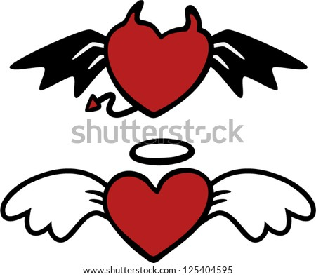 vector cartoon angel and evil hearts - Separate layers for easy editing