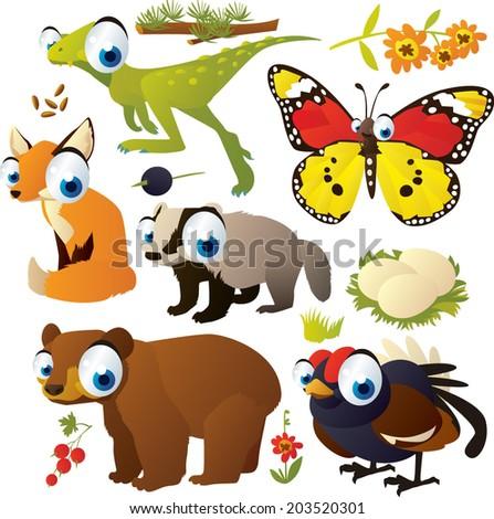 vector cartoon animal set: dinosaur, butterfly, fox, bear, blackcock, nest, badger - stock vector