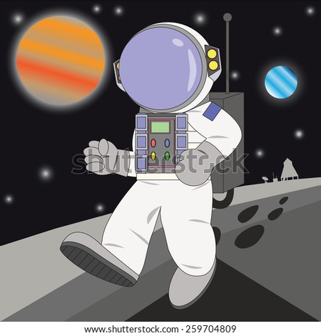 Vector cartoon astronaut. Elements of this image furnished by NASA. - stock vector