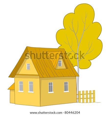 Vector cartoon, autumn landscape: country house with a tree