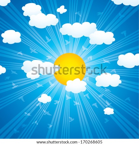 vector cartoon background with clouds, sun rays and flying birds in the sky