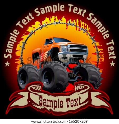 Vector Cartoon background with monstertruck. EPS-10 with transparency effects for one-click repaint - stock vector