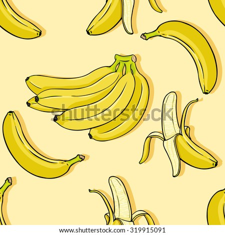 Vector Cartoon Banana Background - stock vector