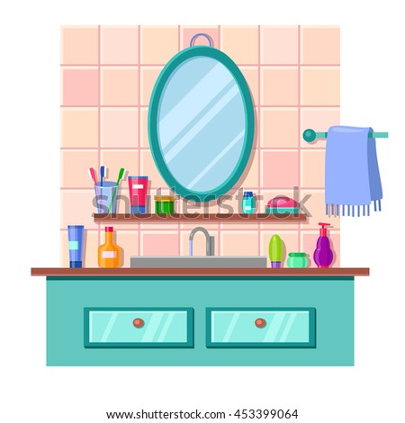 Vector Cartoon Bathroom Interior With Mirror Sink And Towel Lots Of Cute Multicolored Tubes