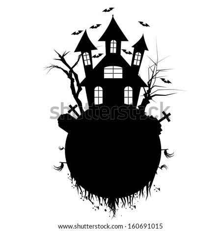 Vector Cartoon Black Haunted House With Space For Text - stock vector