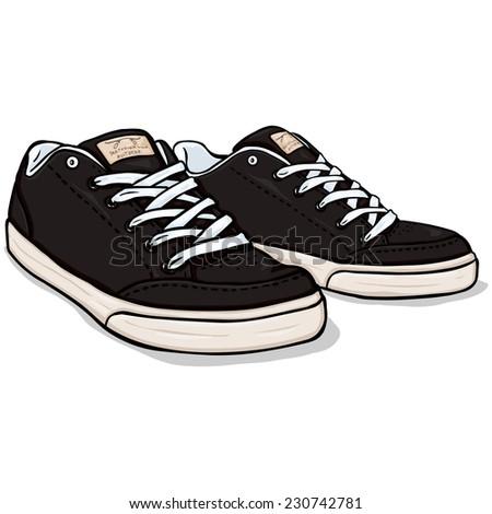 Vector Cartoon Black Skaters Shoes - stock vector