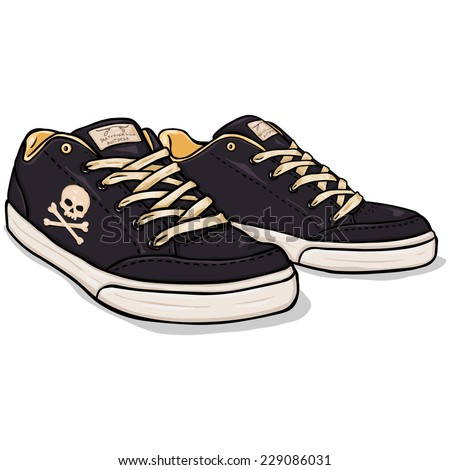 Vector Cartoon Black Skaters Shoes with Skull and Cross Bones - stock vector