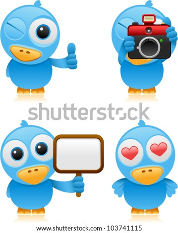 vector cartoon bluebird set 3 - stock vector