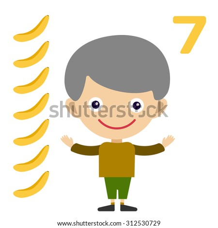 Vector cartoon boy learning game card. Education math cards with fruits and vegetables. Kids boy help to kids learning numbers. Kids school materials. Easy count game - stock vector