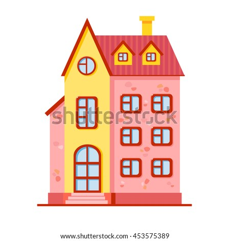 Vector cartoon bright pink and yellow house. Cute building. Child town illustration. Your sweet home. - stock vector