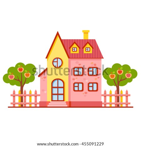 Vector cartoon bright pink and yellow house with fence and two apple trees. Cute building. Child town illustration. Your sweet home. Little garden - stock vector