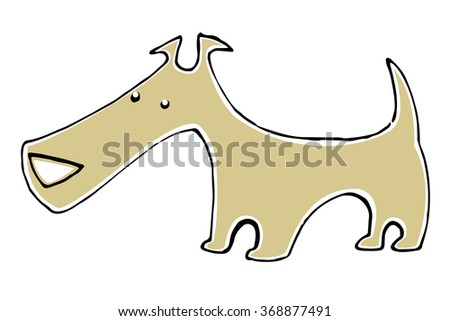Vector cartoon brown dog isolated on white background. - stock vector